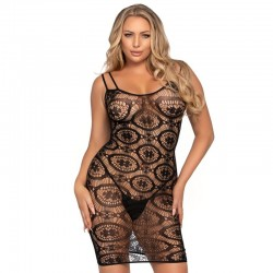 LEG AVENUE MINI VESTIDO DE GANCHILLO NEGRO