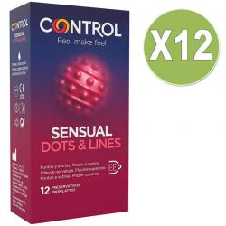 CONTROL PACK 12 UDS SENSUAL DOTS & LINES PUNTOS Y ESTRIAS 12 PRESERVATIVOS