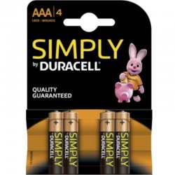 DURACELL SIMPLY PILA ALCALINA AAA LR03/MN2400 4UD